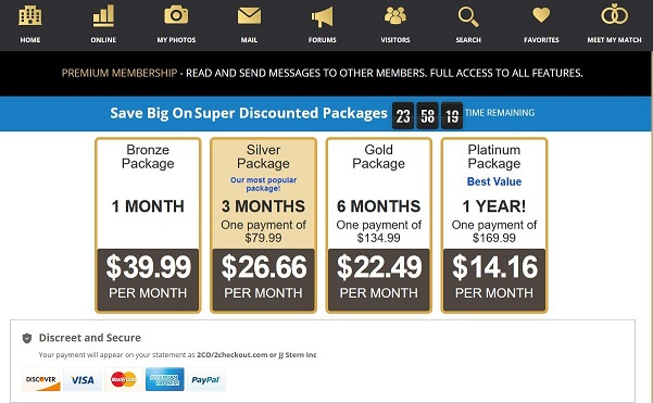upgrade page of sugardaddie.com