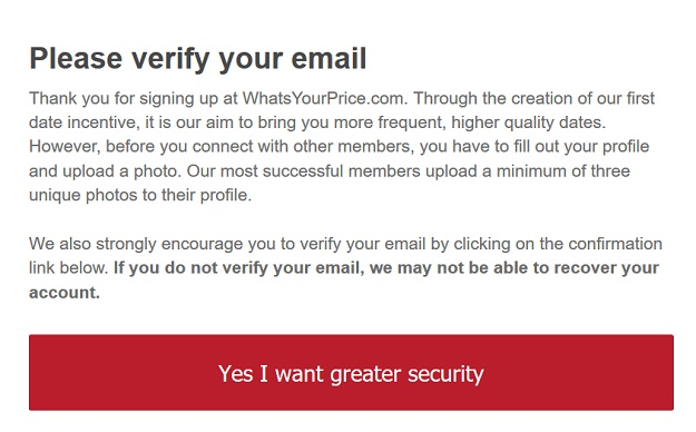Verify your email on whatsyourprice.com