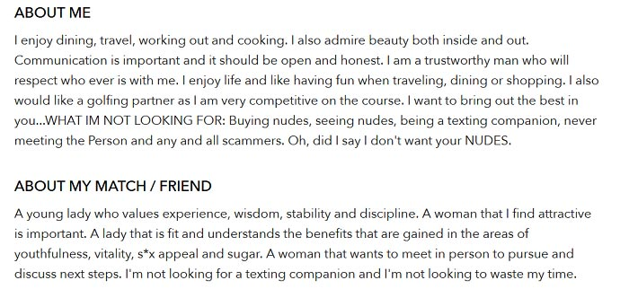 A sugar daddy bio from sugardaddymeet.com